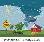 a devastating tornado destroys... | Shutterstock .eps vector #1408273103