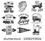 vintage surfing graphics logos... | Shutterstock .eps vector #1408293836