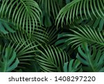 branch palm realistic. leaves... | Shutterstock .eps vector #1408297220