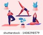 yogi women group doing yoga... | Shutterstock .eps vector #1408298579