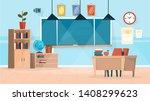 classroom interior. chalkboard...   Shutterstock .eps vector #1408299623