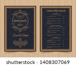 menu layout with ornamental... | Shutterstock .eps vector #1408307069