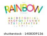 rainbow letters and numbers set.... | Shutterstock .eps vector #1408309136