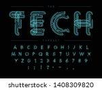 cyber tech font. contour scheme ... | Shutterstock .eps vector #1408309820