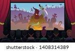 horror movie is shown on screen ... | Shutterstock .eps vector #1408314389