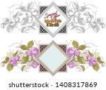 vector plant vignette for...   Shutterstock .eps vector #1408317869