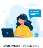 customer service. woman with... | Shutterstock .eps vector #1408327913