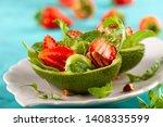 stuffed avocado  with... | Shutterstock . vector #1408335599