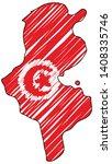 tunisia map hand drawn sketch.... | Shutterstock .eps vector #1408335746