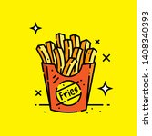 french fries colour line icon.... | Shutterstock .eps vector #1408340393