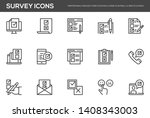 survey vector line icons set.... | Shutterstock .eps vector #1408343003
