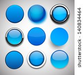 set of blank blue round buttons ... | Shutterstock .eps vector #140834464