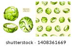 brussels sprouts isolated on... | Shutterstock . vector #1408361669