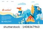 woman sport training outdoors.... | Shutterstock .eps vector #1408367963