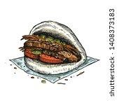 hand drawn bbq pork bao... | Shutterstock .eps vector #1408373183
