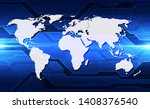 vector globe on the digital... | Shutterstock .eps vector #1408376540