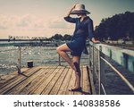 Stylish Woman In White Hat...