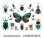 insects collection with... | Shutterstock .eps vector #1408391843