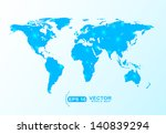 blue world map shape with star... | Shutterstock .eps vector #140839294