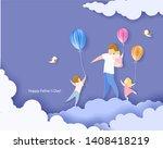 handsome man with his children... | Shutterstock . vector #1408418219