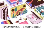 cute tiny people reading... | Shutterstock .eps vector #1408434080