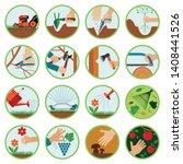 gardening tools. flat icon set...   Shutterstock .eps vector #1408441526