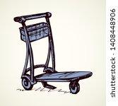 big empty arrival move handcart ...   Shutterstock .eps vector #1408448906