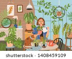 crazy plant lady at greenhouse... | Shutterstock .eps vector #1408459109