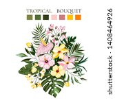 tropical exotic flowers... | Shutterstock .eps vector #1408464926