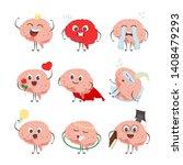 brain cartoon characters making ... | Shutterstock . vector #1408479293