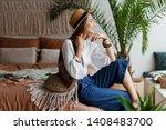 shapely  brunette woman... | Shutterstock . vector #1408483700
