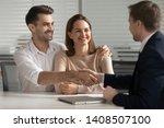 happy young couple handshake... | Shutterstock . vector #1408507100