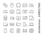 mobile device line icons.... | Shutterstock .eps vector #1408517360