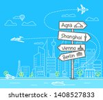 different world city direction...   Shutterstock .eps vector #1408527833