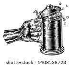 a hand holding a beer stein... | Shutterstock . vector #1408538723