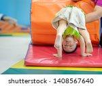 little toddler boy working out... | Shutterstock . vector #1408567640