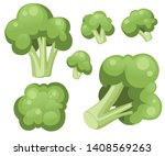 broccoli cabbage icon set. flat ... | Shutterstock .eps vector #1408569263