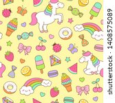 cute unicorn  rainbow and... | Shutterstock .eps vector #1408575089