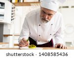 close up pastry chef decoration ...   Shutterstock . vector #1408585436
