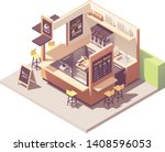 vector isometric coffee shop or ... | Shutterstock .eps vector #1408596053