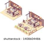 vector isometric food court... | Shutterstock .eps vector #1408604486