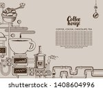 vector banner on coffee theme... | Shutterstock .eps vector #1408604996