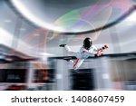 swim. levitation in wind tunnel.... | Shutterstock . vector #1408607459