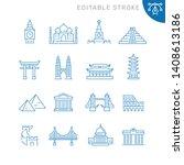 world landmarks related icons.... | Shutterstock .eps vector #1408613186