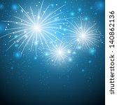 Starry Fireworks On Blue...