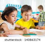 cute preschoolers drawing with... | Shutterstock . vector #140863174