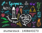 hand drawn colored chalk summer ... | Shutterstock .eps vector #1408643273
