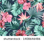 exotic tropical flowers in pink ... | Shutterstock . vector #1408646486