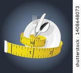 diet   measuring tape tighten... | Shutterstock .eps vector #1408648073