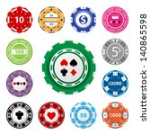 great set of gambling chips for ... | Shutterstock .eps vector #140865598